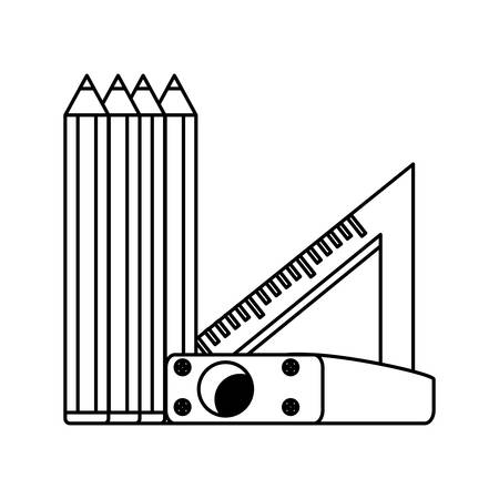 colored pencils with sharpener and squad ruler icon over white background, vector illustration 写真素材 - 99196100