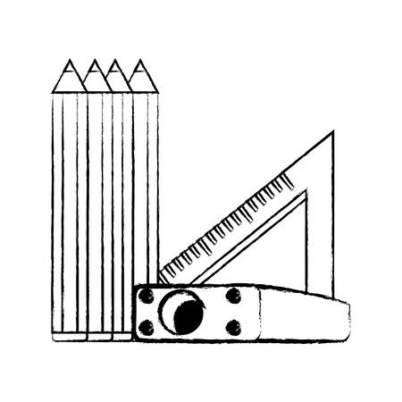 sketch of colored pencils with sharpener and squad ruler icon over white background, vector illustration