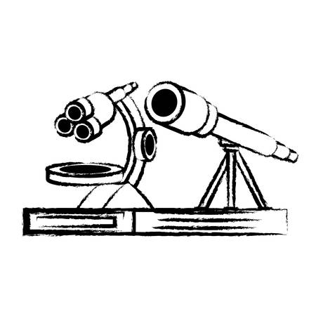 sketch of microscope and telescope icon over white background, vector illustration