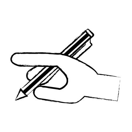 Sketch of hand with pen icon over white background, vector illustration Illustration