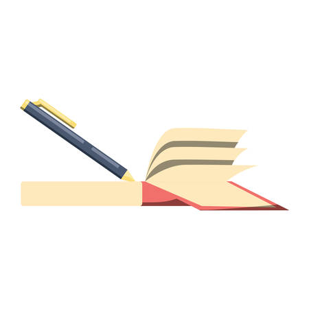 Pen and book icon over white background, colorful design. Vector illustration Illustration
