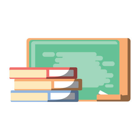 Books and school chalkboard icon over white background, colorful design. Vector illustration