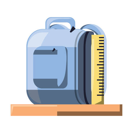 School backpack and rulers over white background, colorful desing. Vector illustration