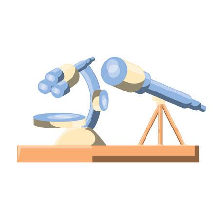 Microscope and telescope icon over white background, colorful design. Vector illustration