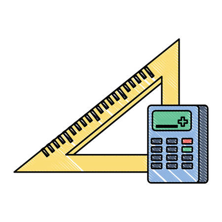 Calculator and ruler squad over white background, colorful design. Vector illustration