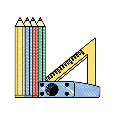 Colored pencils with sharpener and squad ruler icon over white background, colorful design. Vector illustration 写真素材 - 99197608
