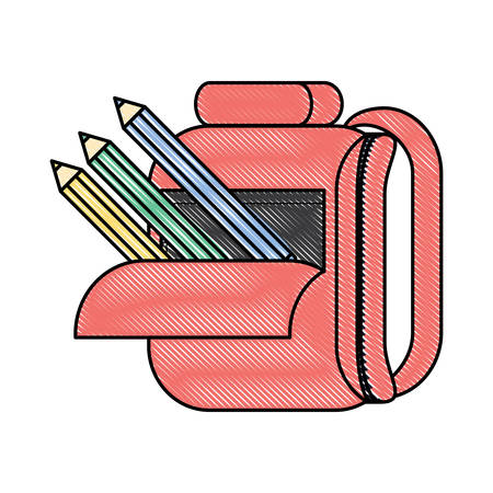 Schulrucksack mit Buntstiften über weißem Hintergrund, buntes Design. Vektorillustration