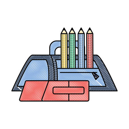 A pencil case with colored pencils and eraser icon over white background, colorful design. vector illustration