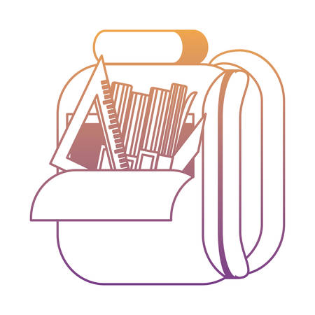 School backpack with books and ruler squad over white background, colorful design. Vector illustration Illustration