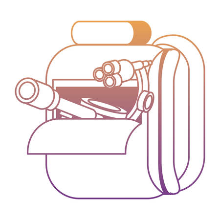 School backpack with microscope over white background, colorful design. Vector illustration Illustration