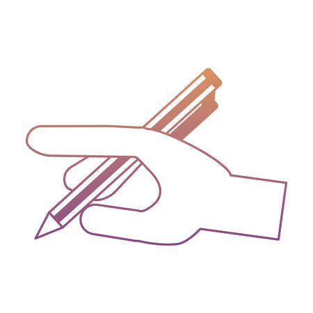 Hand with pen icon over white background, colorful design. Vector illustration Illustration