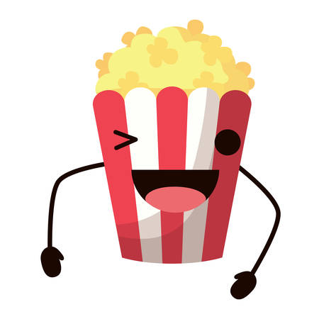 Pop corn wiking an eye over white background, colorful design. Vector illustration