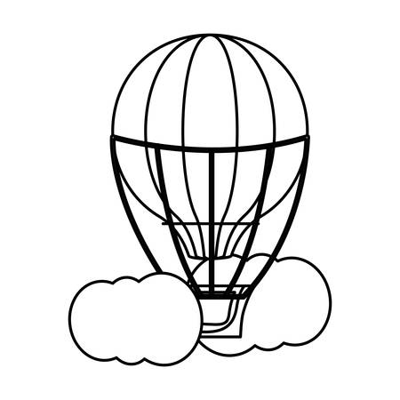 Hot air balloon at the sky with clouds over white background, vector illustration. Illustration