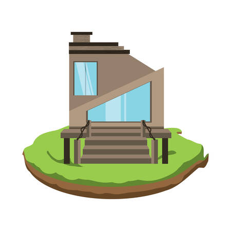 Modern house icon over white background, colorful design. Vector illustration