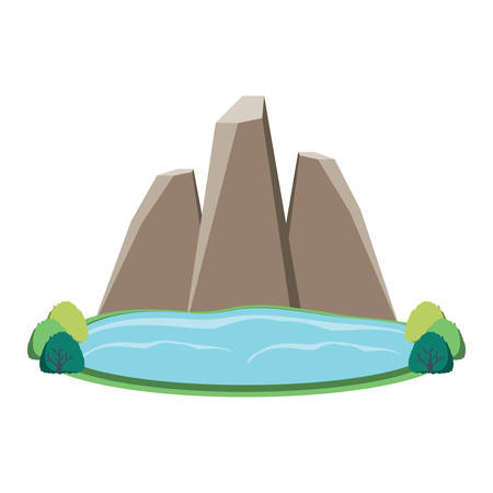 Lake and mountains icon over white background, colorful design. Vector illustration