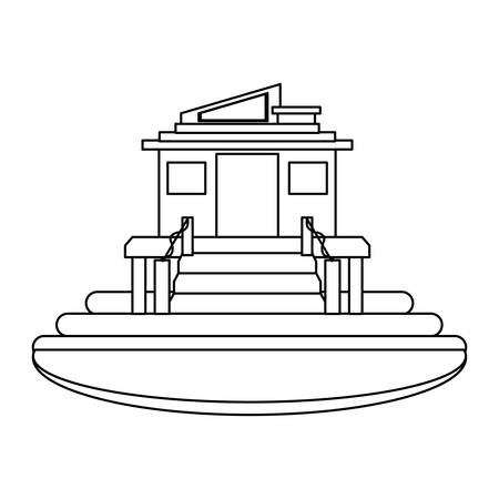 Modern house surrounded by water over white background, vector illustration.