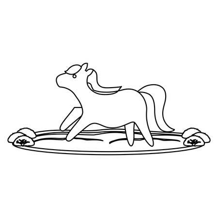 Cute horse running on the grass over white background, vector illustration. Illustration
