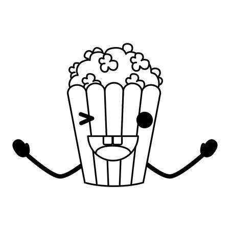 Cute pop corn winking an eye over white background, vector illustration.