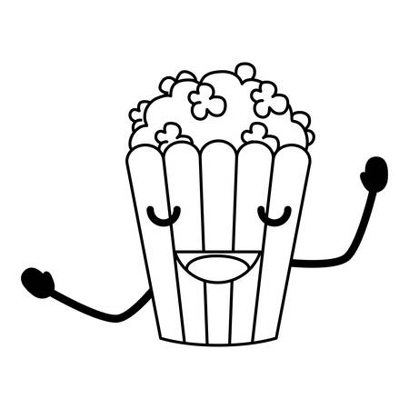 Cute excited pop corn icon over white background, vector illustration. 向量圖像