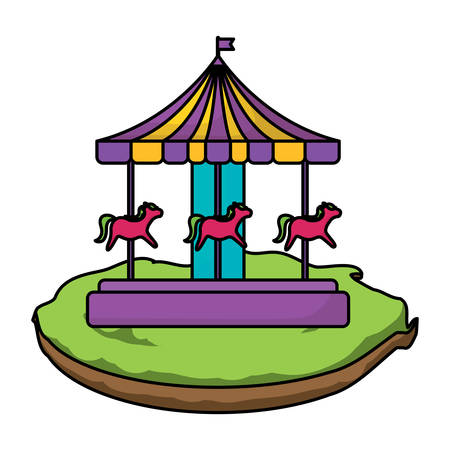 Carousel icon over white background, colorful design. Vector illustration.