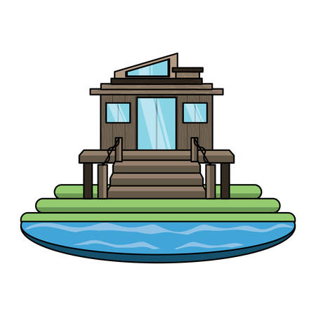 modern house surrounded by water over white background, colorful design. vector illustration