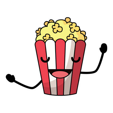Excited pop corn icon over white background, colorful design. vector illustration