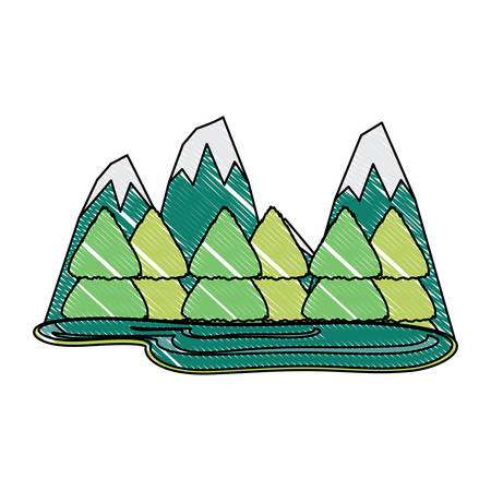 mountains landscape with trees over white background, colorful design.  vector illustration