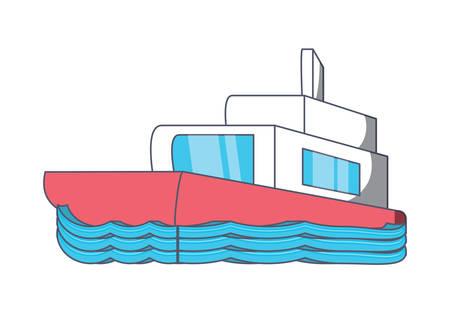 Boat icon over white background, colorful design. vector illustration.