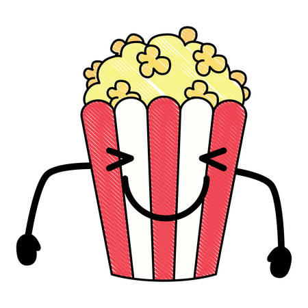Happy pop corn icon over white background, colorful design. vector illustration