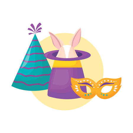 magic hat with party hat and carnival mask over white background, colorful design. vector illustration Illustration