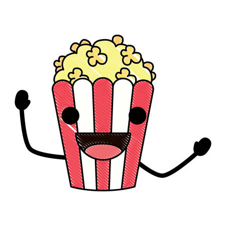 Happy pop corn icon over white background, colorful design. vector illustration