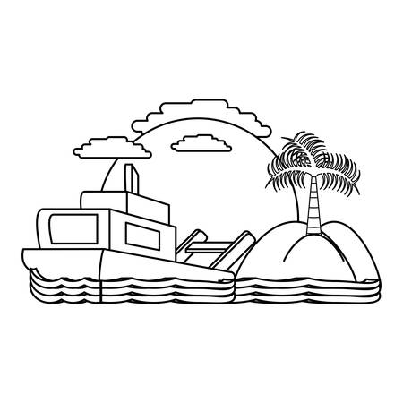 Abstract beach landscape with boat icon over background, vector illustration