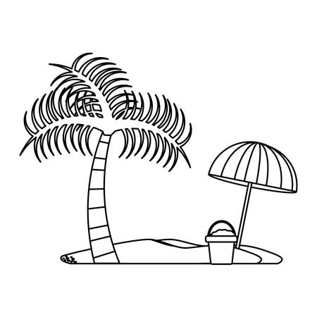 beach with palms and parasol over white background, vector illustration