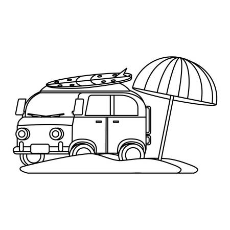 surf van and parasol on the beach over white background, vector illustration