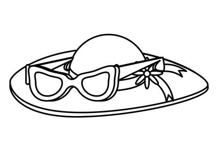 beach hat and Womens sunglasses over white background, vector illustration