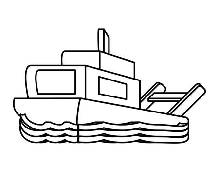 ship icon over white background, vector illustration