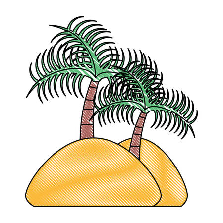beach with tropical palms over white background, colorful design. vector illustration Illustration
