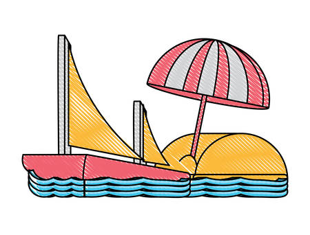 beach with sail boat and parasol over white background, colorful design. vector illustration 向量圖像