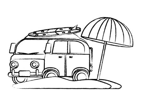 sketch of surf van and parasol on the beach over white background, vector illustration Illustration