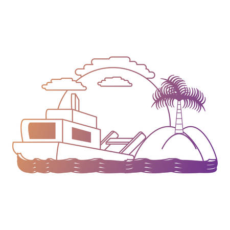 Abstract beach landscape with boat icon over background, colorful design. vector illustration  イラスト・ベクター素材