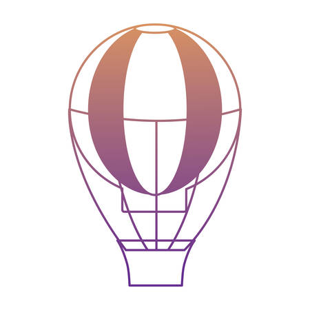 hot air balloon icon over white background, colorful design. vector illustration