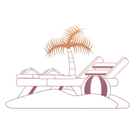 beach with seat and ball over white background, colorful design. vector illustration