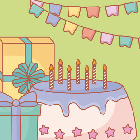 Birthday theme with cake and gifts for card or poster design.