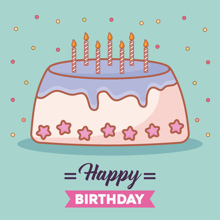 Happy birthday card with birthday cake with candles over turquoise background, colorful design. vector illustration