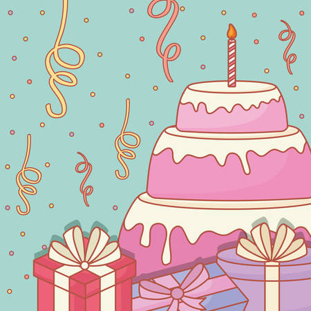 Birthday cake with candles and gift boxes over blue background, happy birthday design. vector illustration