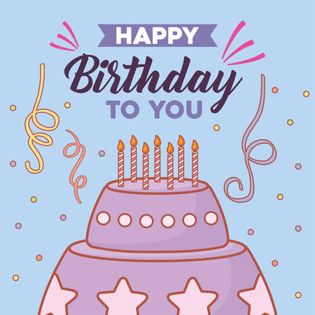 Happy birthday card with birthday cake with candles over blue background, colorful design. vector illustration Illustration
