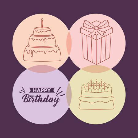 icon set of happy birthday concept over colorful circles and purple background, vector illustration Stock Illustratie