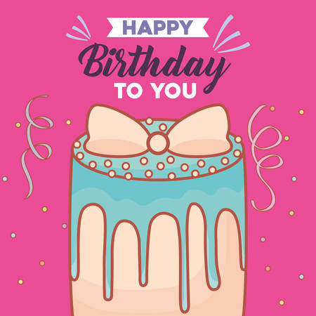 Happy birthday card with birthday cake over pink background, colorful design. vector illustration