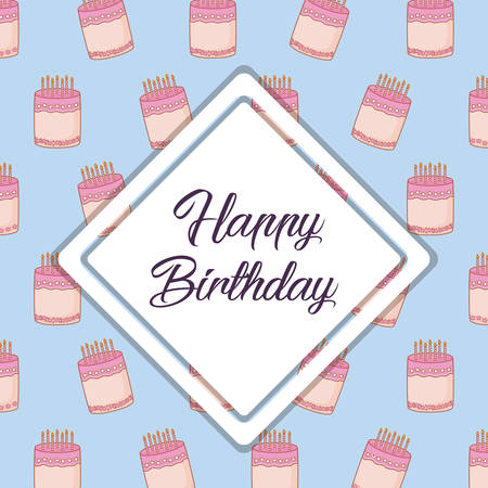 Happy birthday design with decorative rhombus frame over birthday cakes background, colorful design. vector illustration Illustration