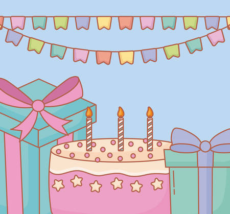 Happy birthday design with decorative pennants with birthday cakes and gift box over background, colorful design. vector illustration Illustration